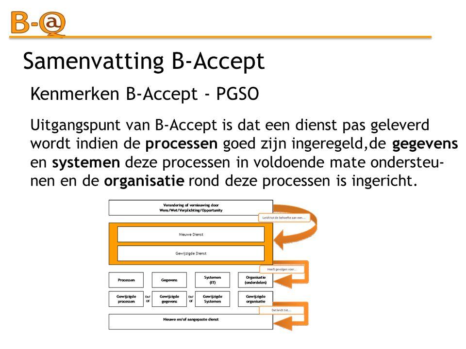 Samenvatting B-Accept Uitgangspunt van B-Accept is dat een dienst pas geleverd wordt indien de processen goed zijn ingeregeld,de gegevens en systemen
