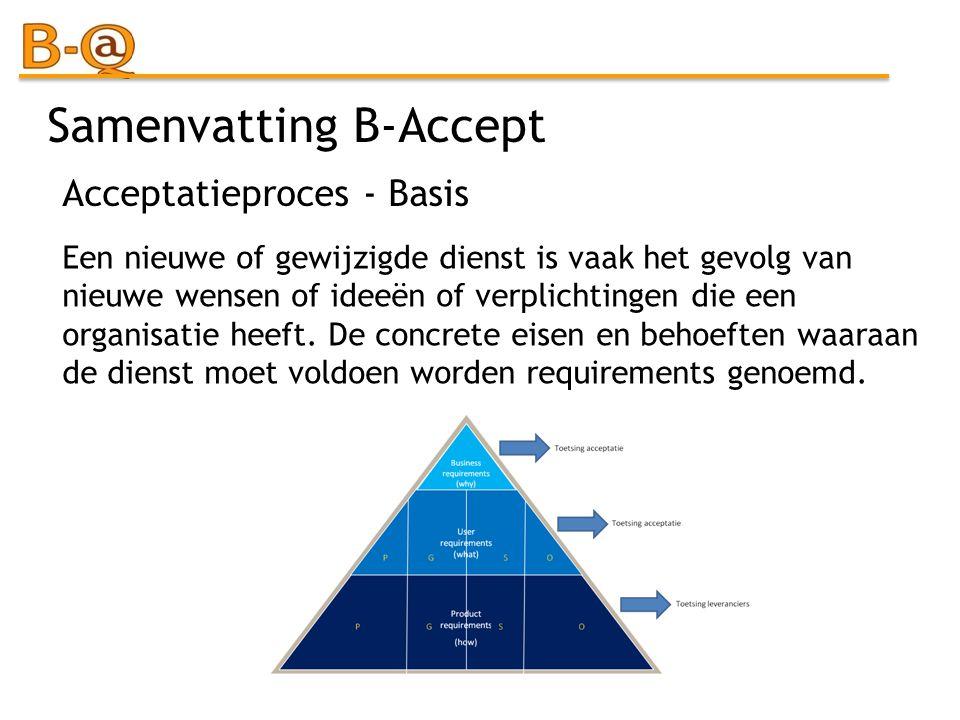 Samenvatting B-Accept Een nieuwe of gewijzigde dienst is vaak het gevolg van nieuwe wensen of ideeën of verplichtingen die een organisatie heeft. De c
