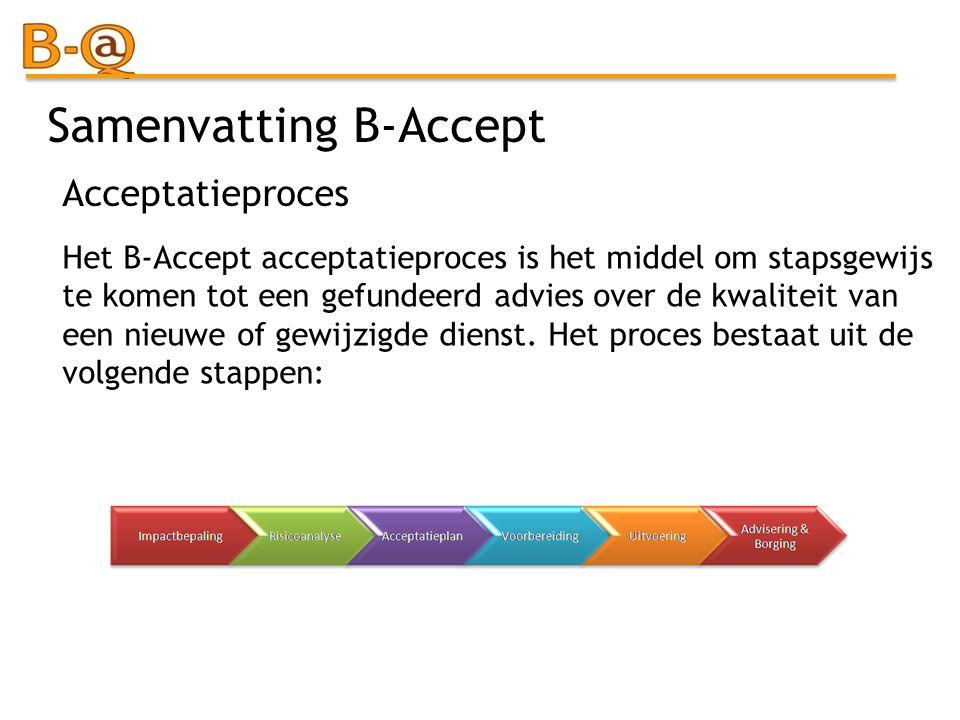 Samenvatting B-Accept Het B-Accept acceptatieproces is het middel om stapsgewijs te komen tot een gefundeerd advies over de kwaliteit van een nieuwe o