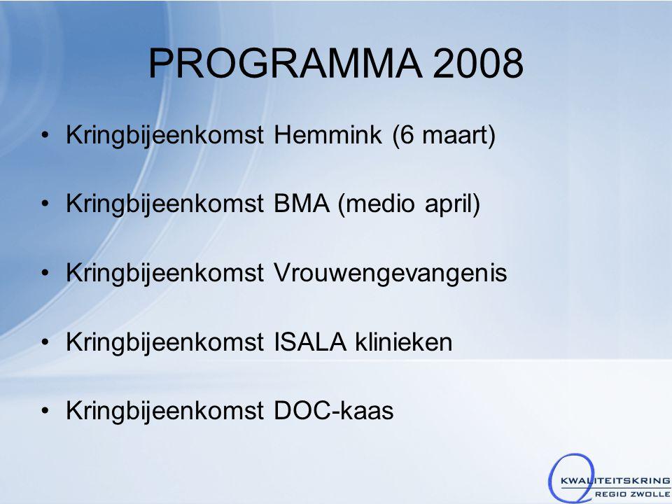 PROGRAMMA 2008 Kringbijeenkomst Hemmink (6 maart) Kringbijeenkomst BMA (medio april) Kringbijeenkomst Vrouwengevangenis Kringbijeenkomst ISALA kliniek