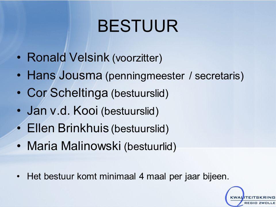 BESTUUR Ronald Velsink (voorzitter) Hans Jousma (penningmeester / secretaris) Cor Scheltinga (bestuurslid) Jan v.d. Kooi (bestuurslid) Ellen Brinkhuis