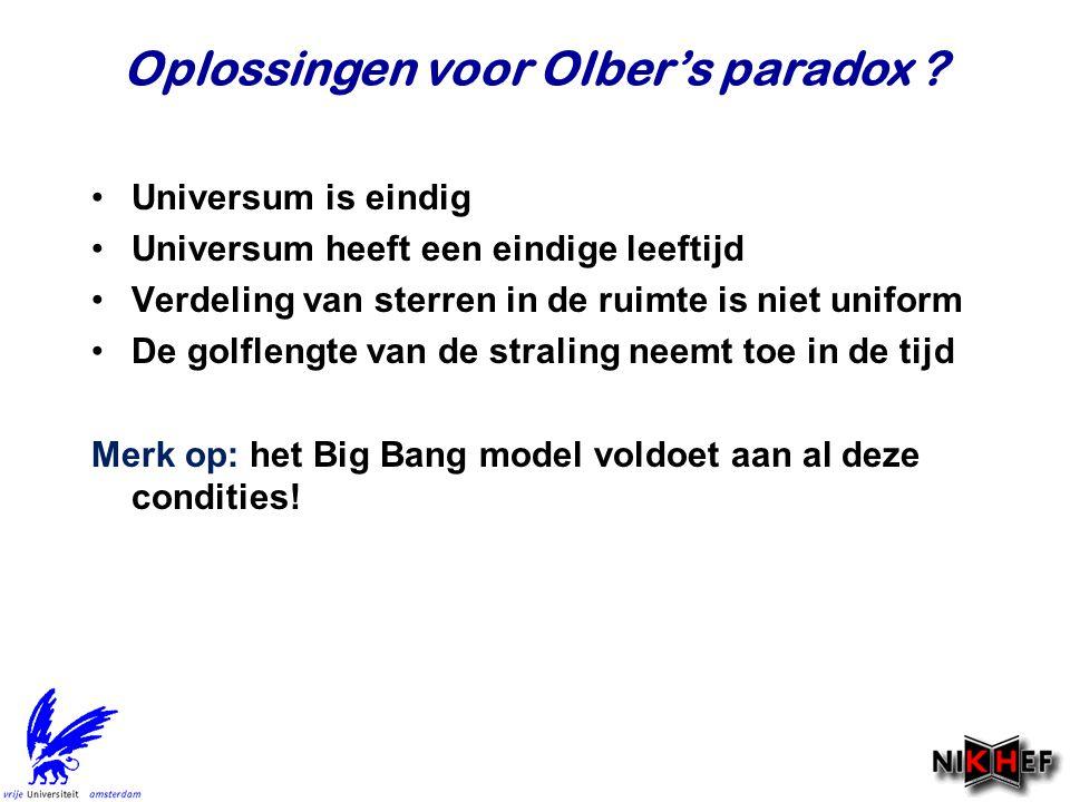 Oplossingen voor Olber's paradox ? Universum is eindig Universum heeft een eindige leeftijd Verdeling van sterren in de ruimte is niet uniform De golf