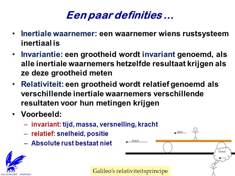 Een paar definities... Inertiale waarnemer: een waarnemer wiens rustsysteem inertiaal is Invariantie: een grootheid wordt invariant genoemd, als alle