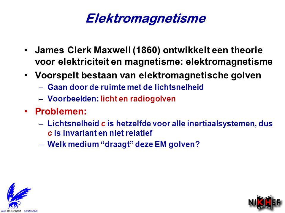 Elektromagnetisme James Clerk Maxwell (1860) ontwikkelt een theorie voor elektriciteit en magnetisme: elektromagnetisme Voorspelt bestaan van elektrom
