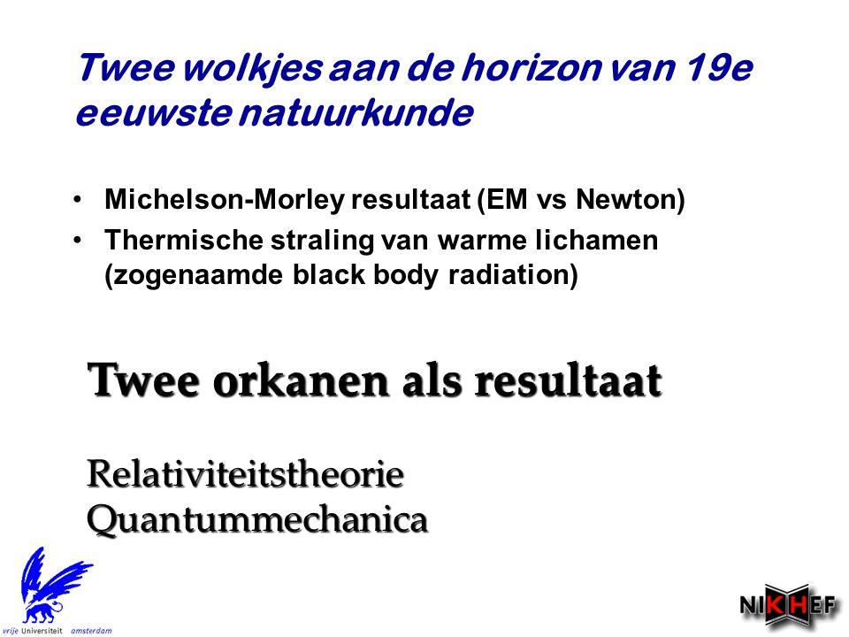 Twee wolkjes aan de horizon van 19e eeuwste natuurkunde Michelson-Morley resultaat (EM vs Newton) Thermische straling van warme lichamen (zogenaamde b
