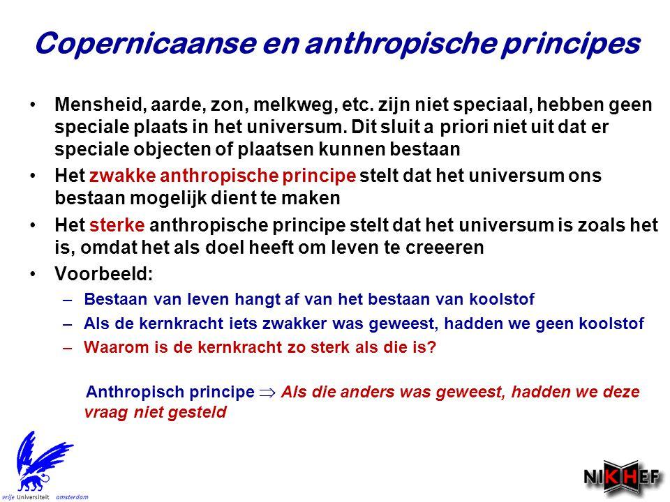 Copernicaanse en anthropische principes Mensheid, aarde, zon, melkweg, etc. zijn niet speciaal, hebben geen speciale plaats in het universum. Dit slui