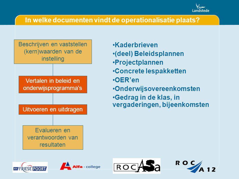In welke documenten vindt de operationalisatie plaats? Kaderbrieven (deel) Beleidsplannen Projectplannen Concrete lespakketten OER'en Onderwijsovereen