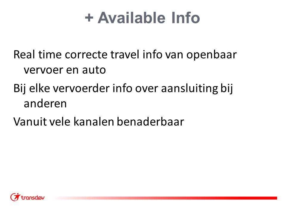 + Available Info Real time correcte travel info van openbaar vervoer en auto Bij elke vervoerder info over aansluiting bij anderen Vanuit vele kanalen
