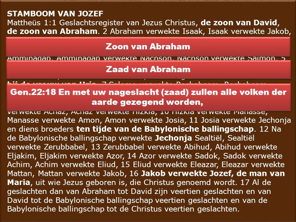 STAMBOOM VAN JOZEF Mattheüs 1:1 Geslachtsregister van Jezus Christus, de zoon van David, de zoon van Abraham. 2 Abraham verwekte Isaak, Isaak verwekte