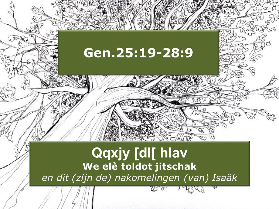 Qqxjy [dl[ hlav We elè toldot jitschak en dit (zijn de) nakomelingen (van) Isaäk Gen.25:19-28:9