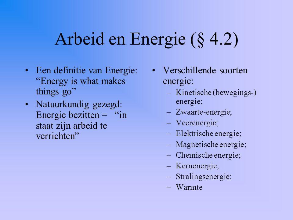 Arbeid en Energie (§ 4.2) Een definitie van Energie: Energy is what makes things go Natuurkundig gezegd: Energie bezitten = in staat zijn arbeid te verrichten Verschillende soorten energie: –Kinetische (bewegings-) energie; –Zwaarte-energie; –Veerenergie; –Elektrische energie; –Magnetische energie; –Chemische energie; –Kernenergie; –Stralingsenergie; –Warmte