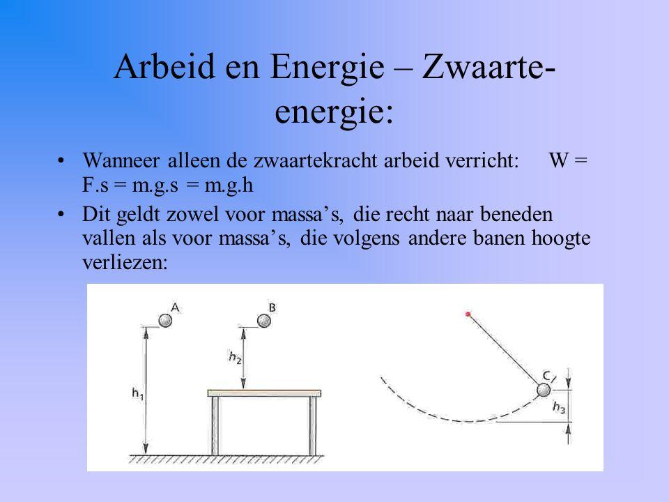Arbeid en Energie – Zwaarte- energie: Wanneer alleen de zwaartekracht arbeid verricht: W = F.s = m.g.s = m.g.h Dit geldt zowel voor massa's, die recht naar beneden vallen als voor massa's, die volgens andere banen hoogte verliezen: