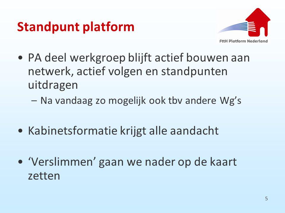 5 Standpunt platform PA deel werkgroep blijft actief bouwen aan netwerk, actief volgen en standpunten uitdragen –Na vandaag zo mogelijk ook tbv andere Wg's Kabinetsformatie krijgt alle aandacht 'Verslimmen' gaan we nader op de kaart zetten