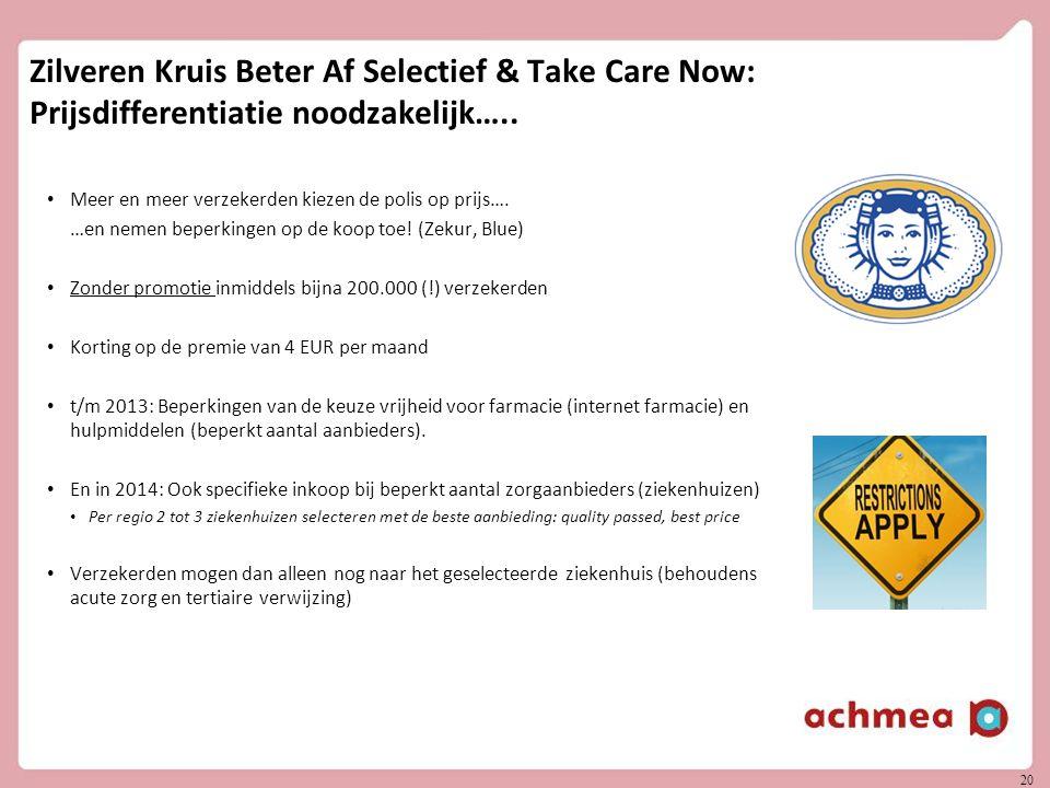 20 Zilveren Kruis Beter Af Selectief & Take Care Now: Prijsdifferentiatie noodzakelijk….. Meer en meer verzekerden kiezen de polis op prijs…. …en neme