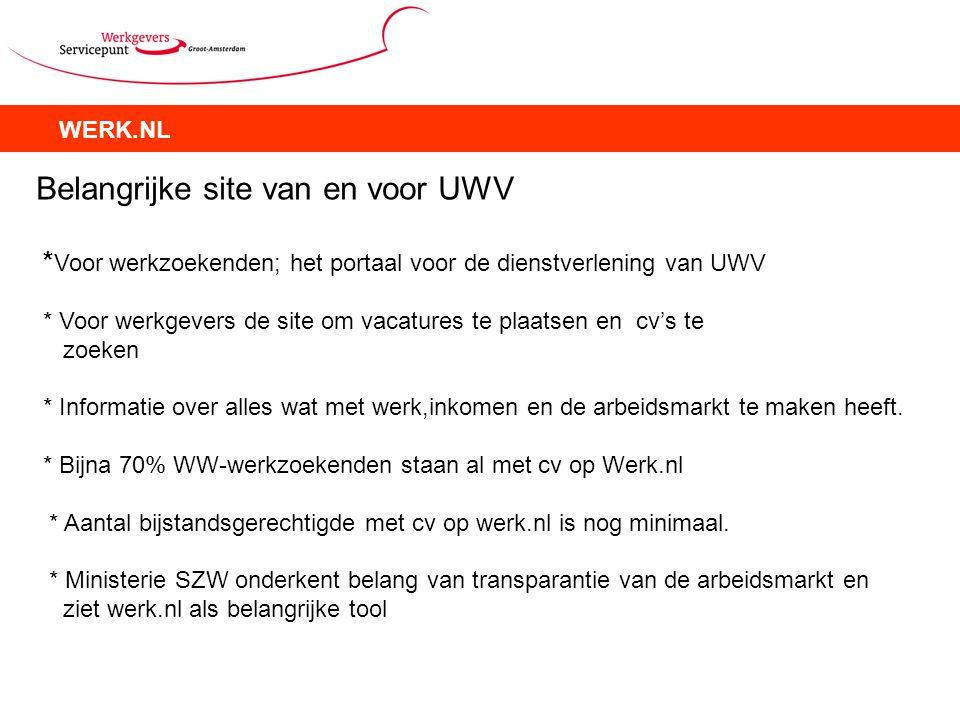 WERK.NL Belangrijke site van en voor UWV * Voor werkzoekenden; het portaal voor de dienstverlening van UWV * Voor werkgevers de site om vacatures te p