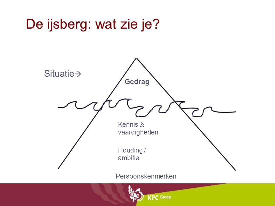 Gedrag Kennis & vaardigheden Houding / ambitie Persoonskenmerken Situatie  De ijsberg: wat zie je?