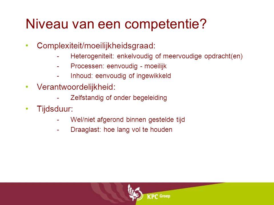 Niveau van een competentie? Complexiteit/moeilijkheidsgraad: -Heterogeniteit: enkelvoudig of meervoudige opdracht(en) -Processen: eenvoudig - moeilijk