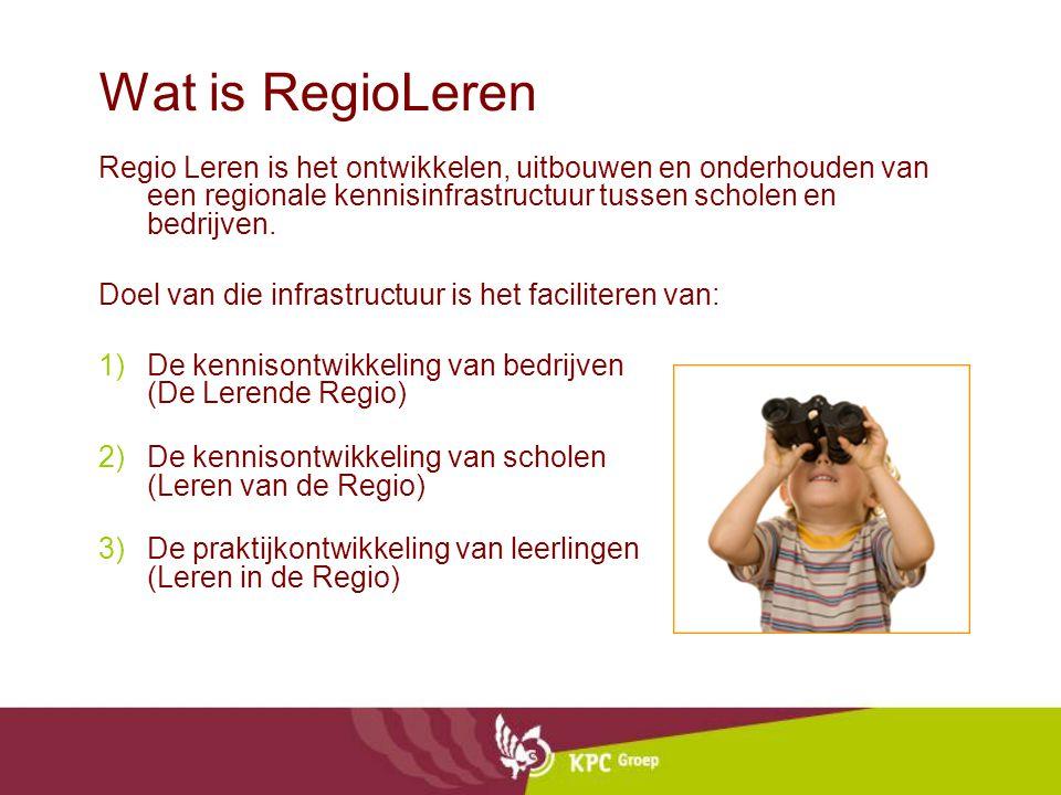 Wat is RegioLeren Regio Leren is het ontwikkelen, uitbouwen en onderhouden van een regionale kennisinfrastructuur tussen scholen en bedrijven. Doel va