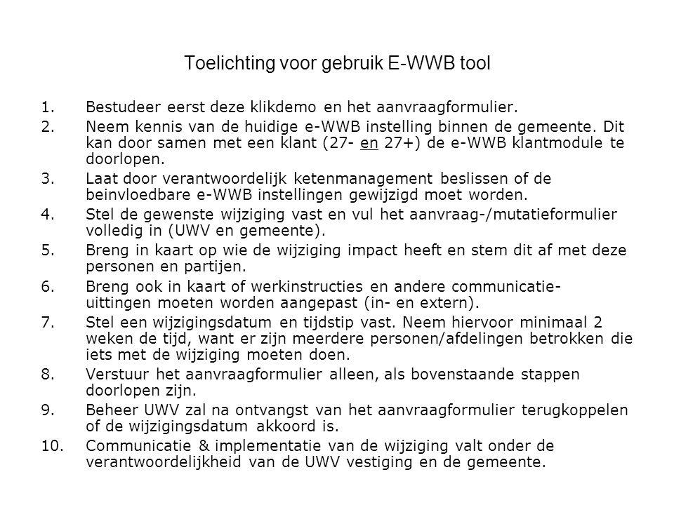 Checklist bij implementatie E-WWB Gemeente en UWV dienen samen vast te stellen hoe de E-WWB binnen de lokale gemeente(n) moet worden ingericht.