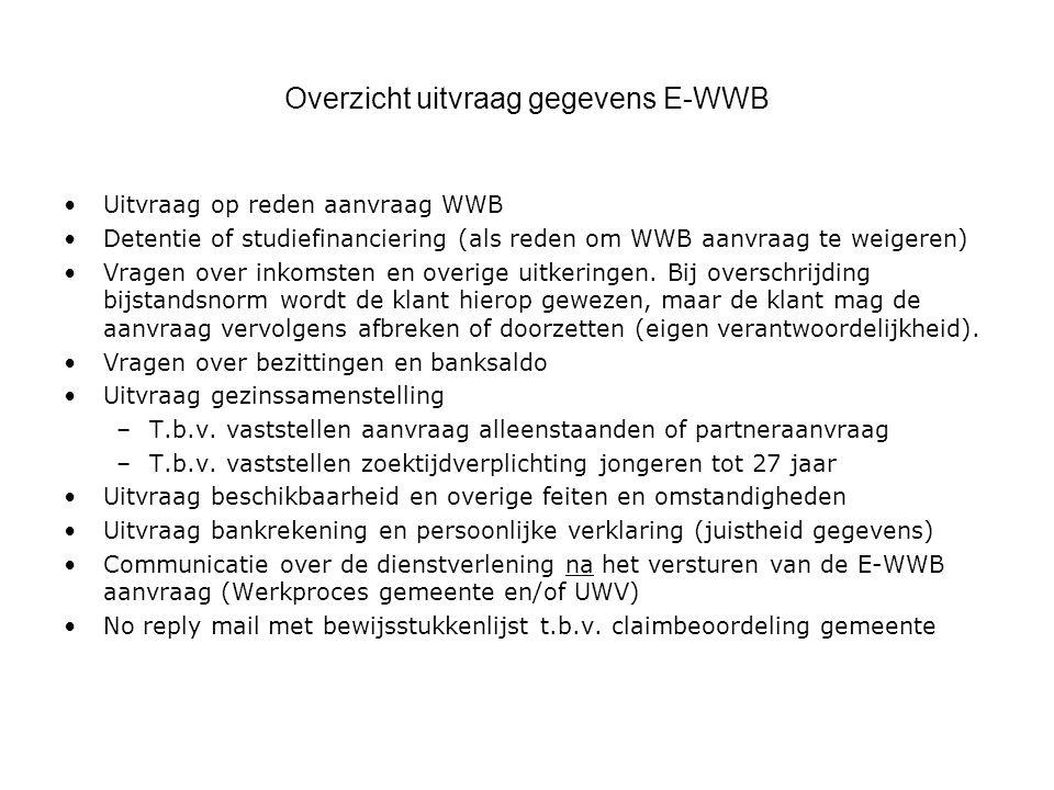 Aanvraagformulier voorbeeld: Scherm bij situatie 3 (E-WWB is gesloten, want er is workfirst beleid) De tekst bij vraag 6 is standaard tekst die bij situatie 3 hoort.