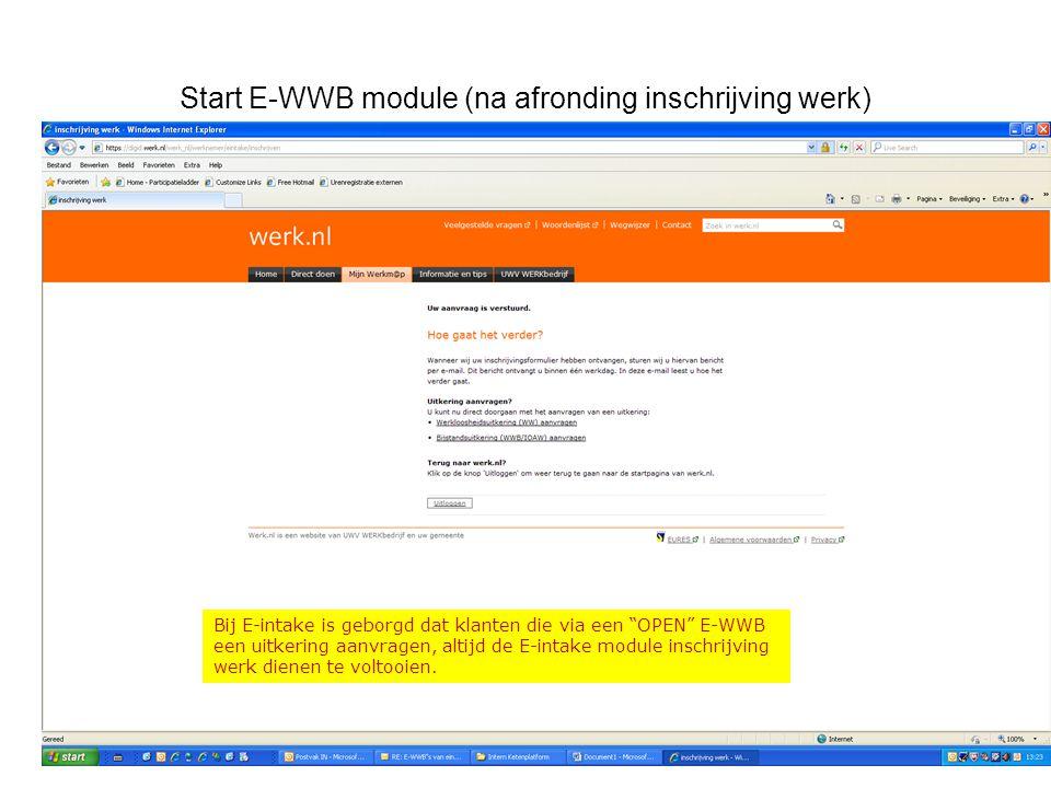 Aanvraagformulier voorbeeld: Scherm bij situatie 4 (E-WWB is gesloten) De tekst bij vraag 6 is standaard tekst die bij situatie 4 hoort.