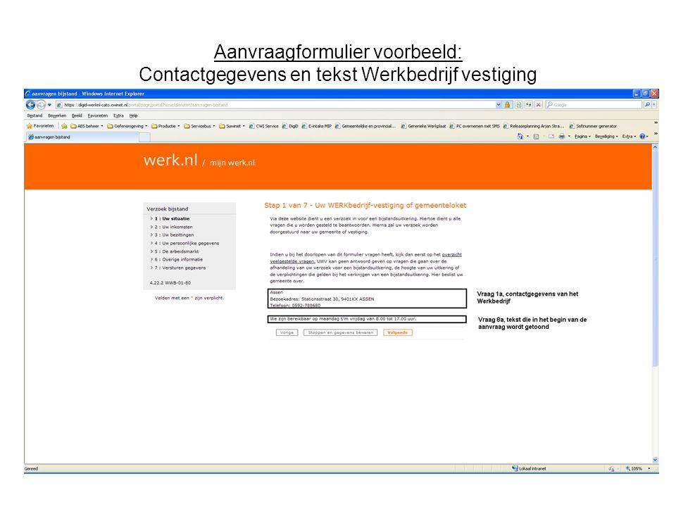 Aanvraagformulier voorbeeld: Contactgegevens gemeenteloket M.b.t.