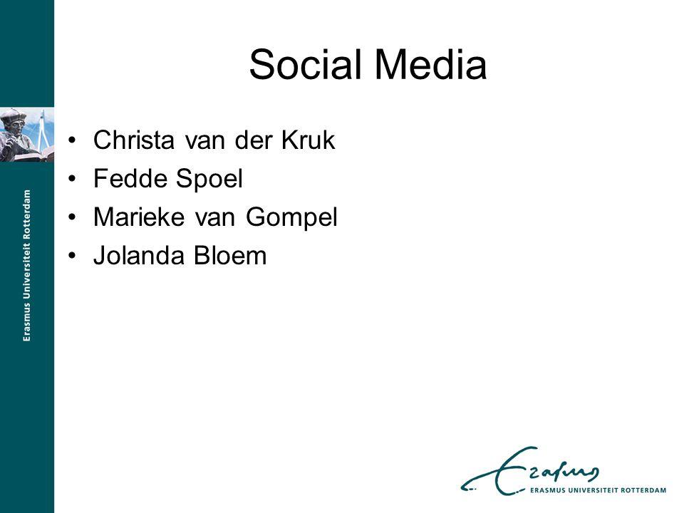 Social Media Christa van der Kruk Fedde Spoel Marieke van Gompel Jolanda Bloem