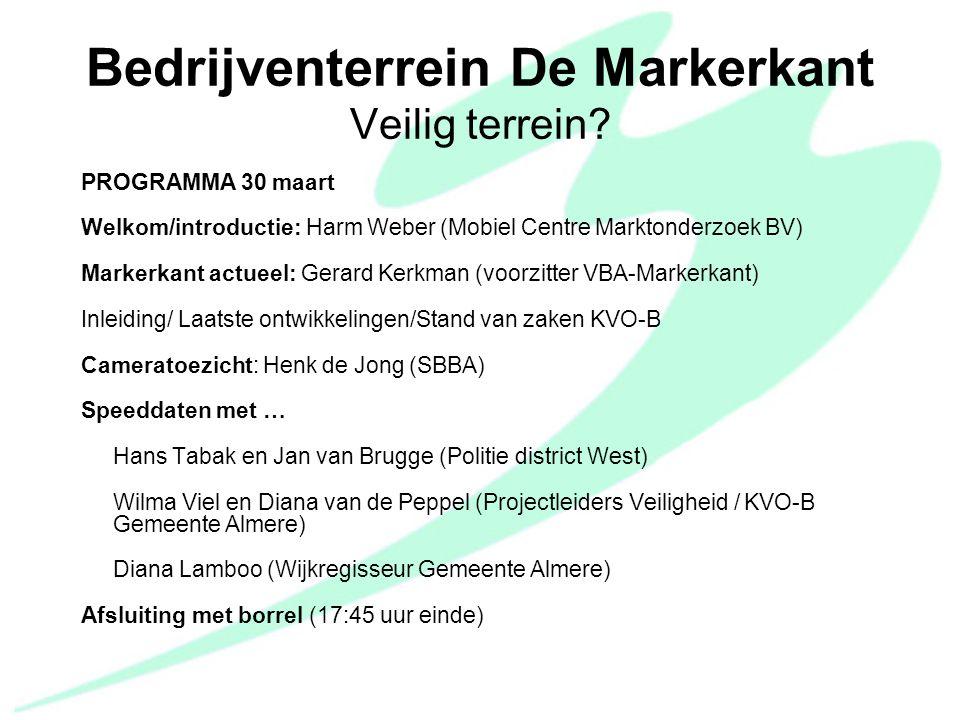 VBA Kring Markerkant 30-03-2011 PVA doelstellingen en maatregelen; Sociale veiligheid:  inventarisatie AED's op terrein;  Onh.