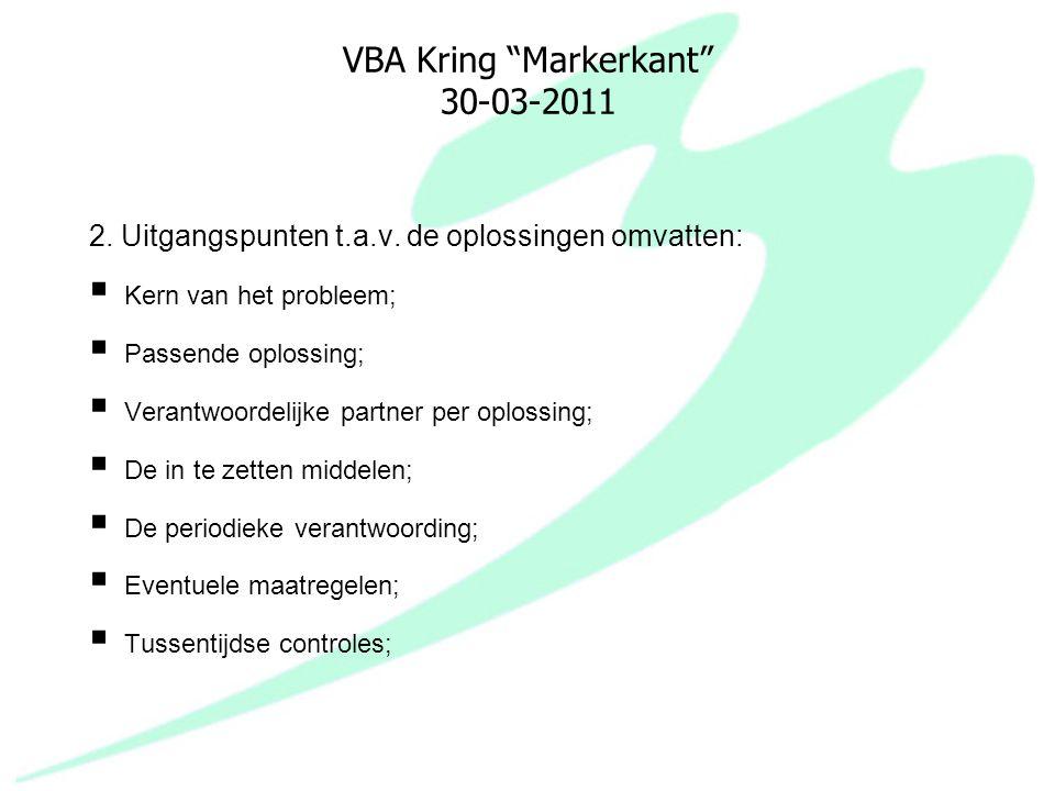 """VBA Kring """"Markerkant"""" 30-03-2011 2. Uitgangspunten t.a.v. de oplossingen omvatten:  Kern van het probleem;  Passende oplossing;  Verantwoordelijke"""