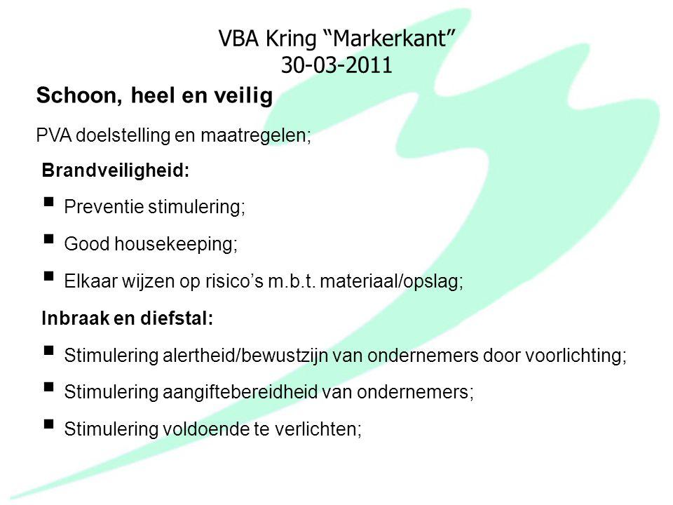 """VBA Kring """"Markerkant"""" 30-03-2011 Brandveiligheid:  Preventie stimulering;  Good housekeeping;  Elkaar wijzen op risico's m.b.t. materiaal/opslag;"""