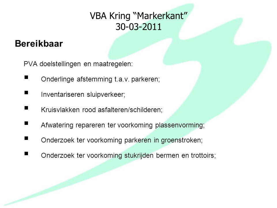 "VBA Kring ""Markerkant"" 30-03-2011 PVA doelstellingen en maatregelen:  Onderlinge afstemming t.a.v. parkeren;  Inventariseren sluipverkeer;  Kruisvl"