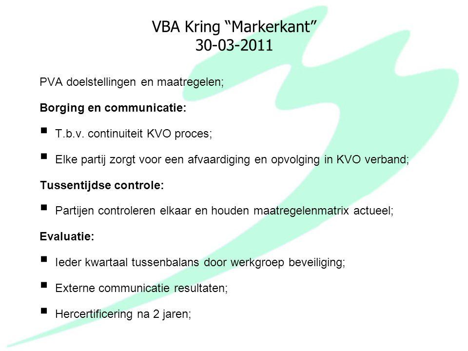 "VBA Kring ""Markerkant"" 30-03-2011 PVA doelstellingen en maatregelen; Borging en communicatie:  T.b.v. continuiteit KVO proces;  Elke partij zorgt vo"