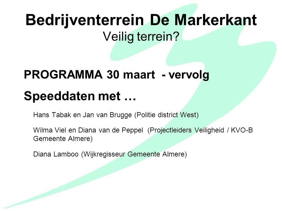 PROGRAMMA 30 maart - vervolg Speeddaten met … Hans Tabak en Jan van Brugge (Politie district West) Wilma Viel en Diana van de Peppel (Projectleiders V