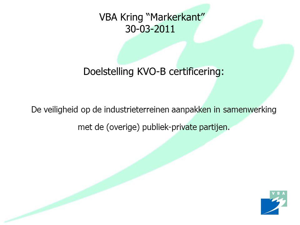 """VBA Kring """"Markerkant"""" 30-03-2011 Doelstelling KVO-B certificering: De veiligheid op de industrieterreinen aanpakken in samenwerking met de (overige)"""