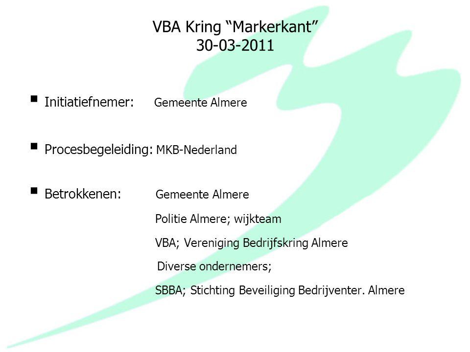 """VBA Kring """"Markerkant"""" 30-03-2011  Initiatiefnemer: Gemeente Almere  Procesbegeleiding: MKB-Nederland  Betrokkenen: Gemeente Almere Politie Almere;"""