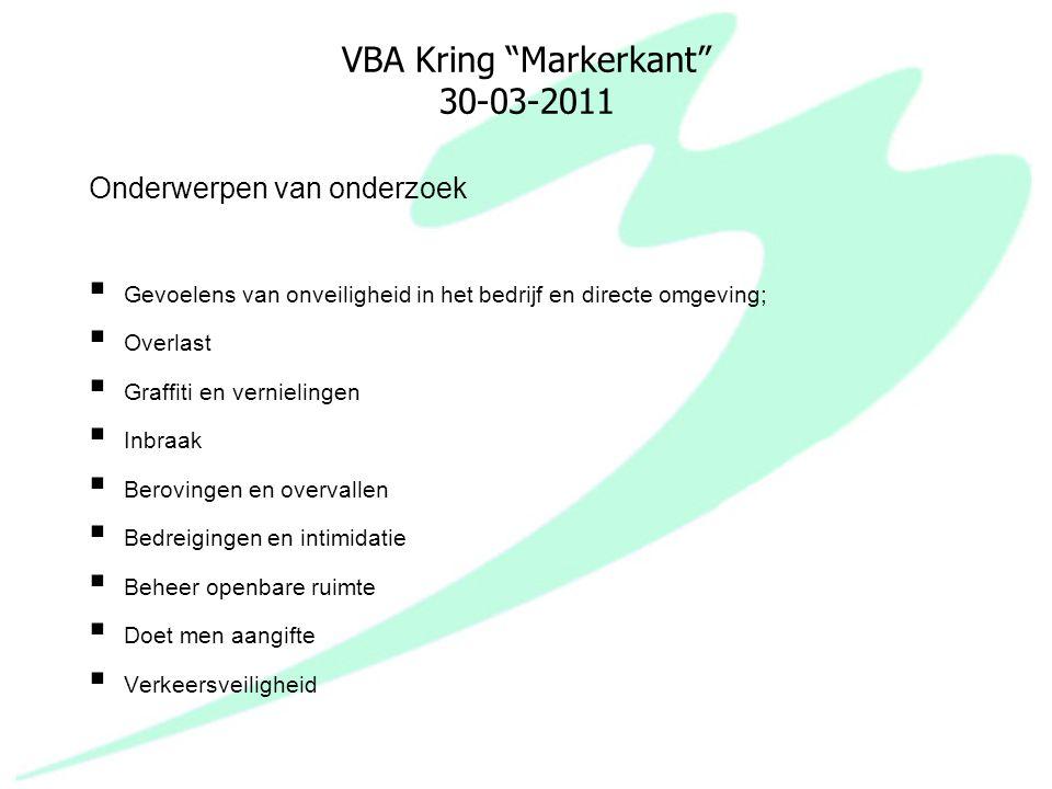 """VBA Kring """"Markerkant"""" 30-03-2011 Onderwerpen van onderzoek  Gevoelens van onveiligheid in het bedrijf en directe omgeving;  Overlast  Graffiti en"""