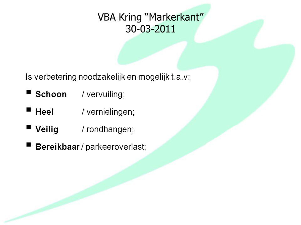 """VBA Kring """"Markerkant"""" 30-03-2011 Is verbetering noodzakelijk en mogelijk t.a.v;  Schoon / vervuiling;  Heel / vernielingen;  Veilig / rondhangen;"""