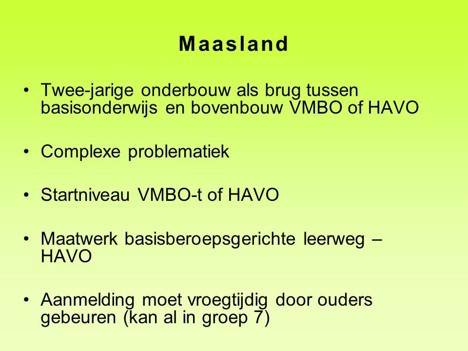 Maasland Twee-jarige onderbouw als brug tussen basisonderwijs en bovenbouw VMBO of HAVO Complexe problematiek Startniveau VMBO-t of HAVO Maatwerk basi