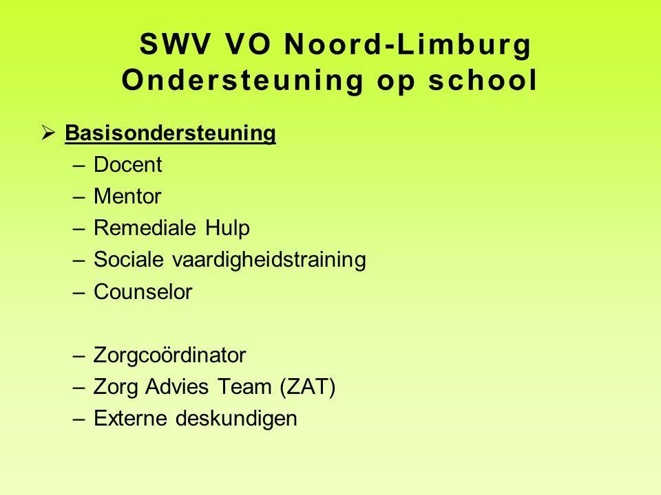 SWV VO Noord-Limburg Ondersteuning op school  Basisondersteuning –Docent –Mentor –Remediale Hulp –Sociale vaardigheidstraining –Counselor –Zorgcoördi