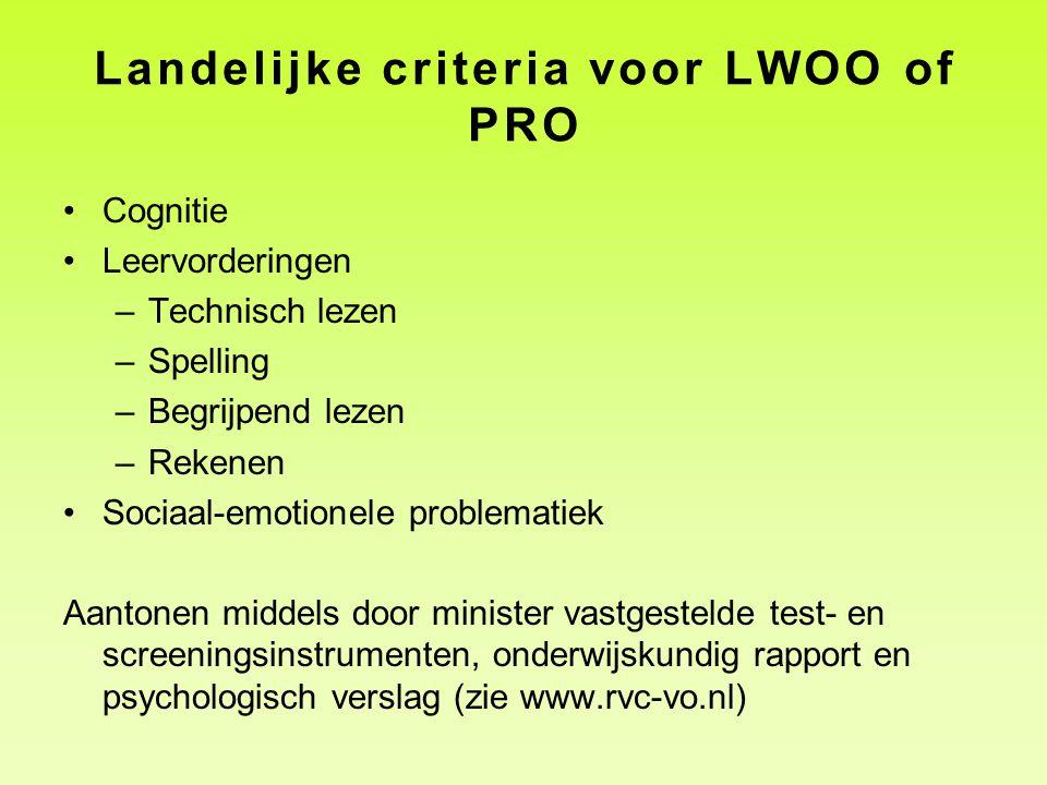 Landelijke criteria voor LWOO of PRO Cognitie Leervorderingen –Technisch lezen –Spelling –Begrijpend lezen –Rekenen Sociaal-emotionele problematiek Aa