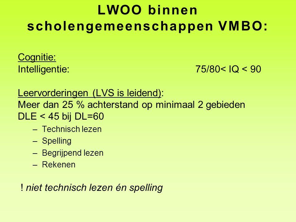 LWOO binnen scholengemeenschappen VMBO: Cognitie: Intelligentie:75/80< IQ < 90 Leervorderingen (LVS is leidend): Meer dan 25 % achterstand op minimaal