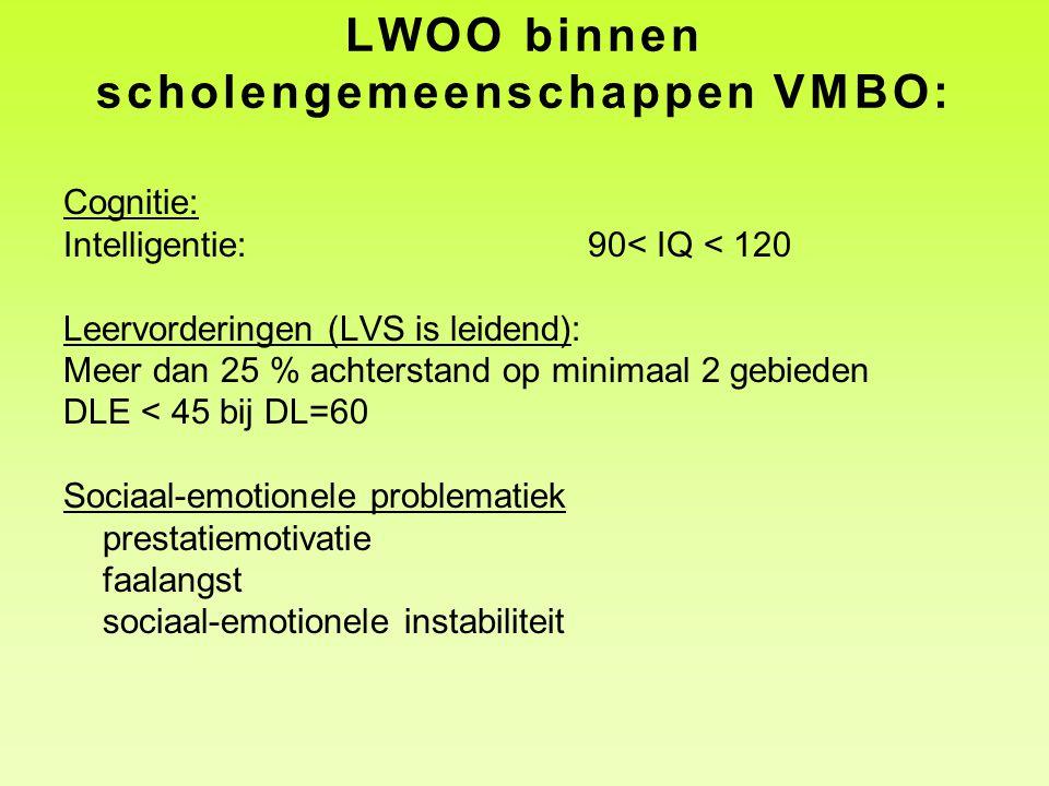 LWOO binnen scholengemeenschappen VMBO: Cognitie: Intelligentie:90< IQ < 120 Leervorderingen (LVS is leidend): Meer dan 25 % achterstand op minimaal 2