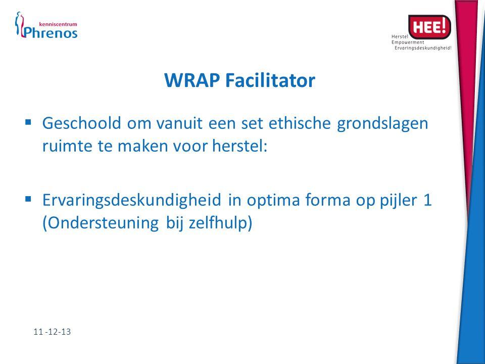 WRAP Facilitator  Geschoold om vanuit een set ethische grondslagen ruimte te maken voor herstel:  Ervaringsdeskundigheid in optima forma op pijler 1