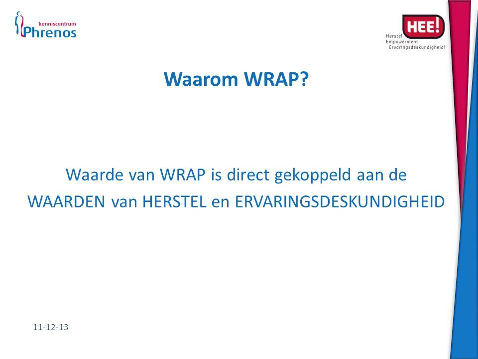 Waarom WRAP? Waarde van WRAP is direct gekoppeld aan de WAARDEN van HERSTEL en ERVARINGSDESKUNDIGHEID 11-12-13