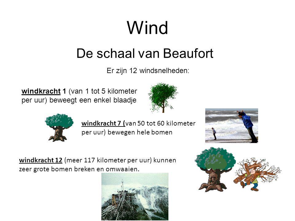 Wind De schaal van Beaufort Er zijn 12 windsnelheden: windkracht 1 (van 1 tot 5 kilometer per uur) beweegt een enkel blaadje windkracht 7 (van 50 tot