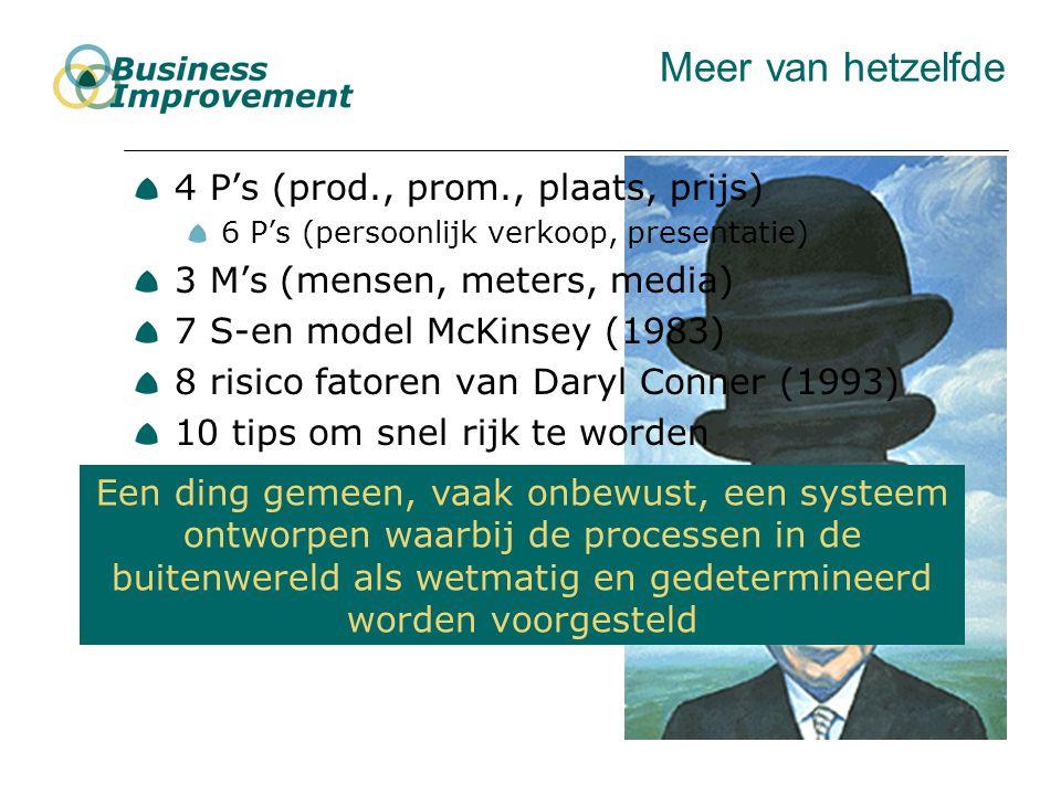 Meer van hetzelfde 4 P's (prod., prom., plaats, prijs) 6 P's (persoonlijk verkoop, presentatie) 3 M's (mensen, meters, media) 7 S-en model McKinsey (1983) 8 risico fatoren van Daryl Conner (1993) 10 tips om snel rijk te worden 12 gouden regels voor effectief managenment 20 ingredienten om AVV er boven op te helpen Een ding gemeen, vaak onbewust, een systeem ontworpen waarbij de processen in de buitenwereld als wetmatig en gedetermineerd worden voorgesteld