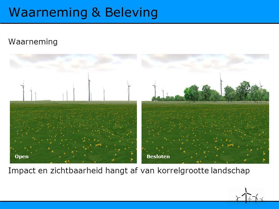 Waarneming & Beleving Waarneming Impact en zichtbaarheid hangt af van korrelgrootte landschap OpenBesloten