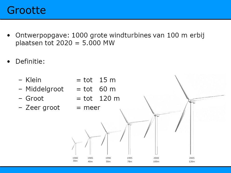 Grootte Ontwerpopgave: 1000 grote windturbines van 100 m erbij plaatsen tot 2020 = 5.000 MW Definitie: –Klein = tot 15 m –Middelgroot= tot60 m –Groot= tot120 m –Zeer groot= meer