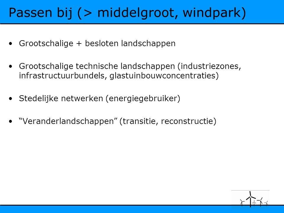 Passen bij (> middelgroot, windpark) Grootschalige + besloten landschappen Grootschalige technische landschappen (industriezones, infrastructuurbundels, glastuinbouwconcentraties) Stedelijke netwerken (energiegebruiker) Veranderlandschappen (transitie, reconstructie)