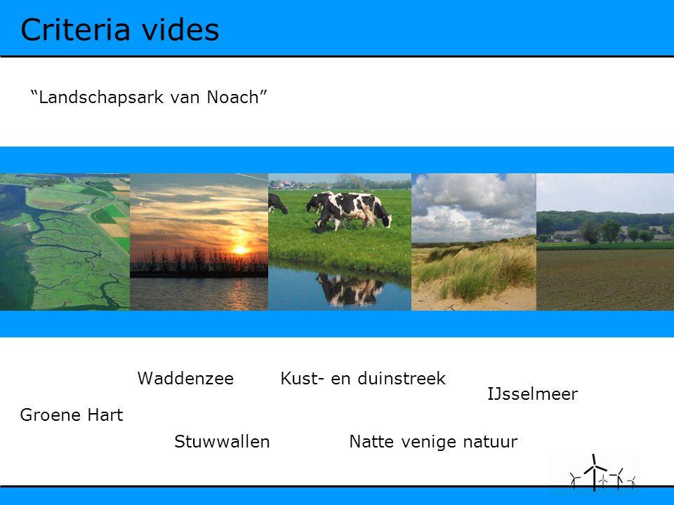 Criteria vides Waddenzee Natte venige natuurStuwwallen Kust- en duinstreek IJsselmeer Groene Hart Landschapsark van Noach
